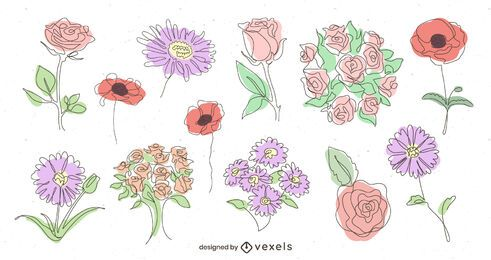 Pacote de design ilustrado floral