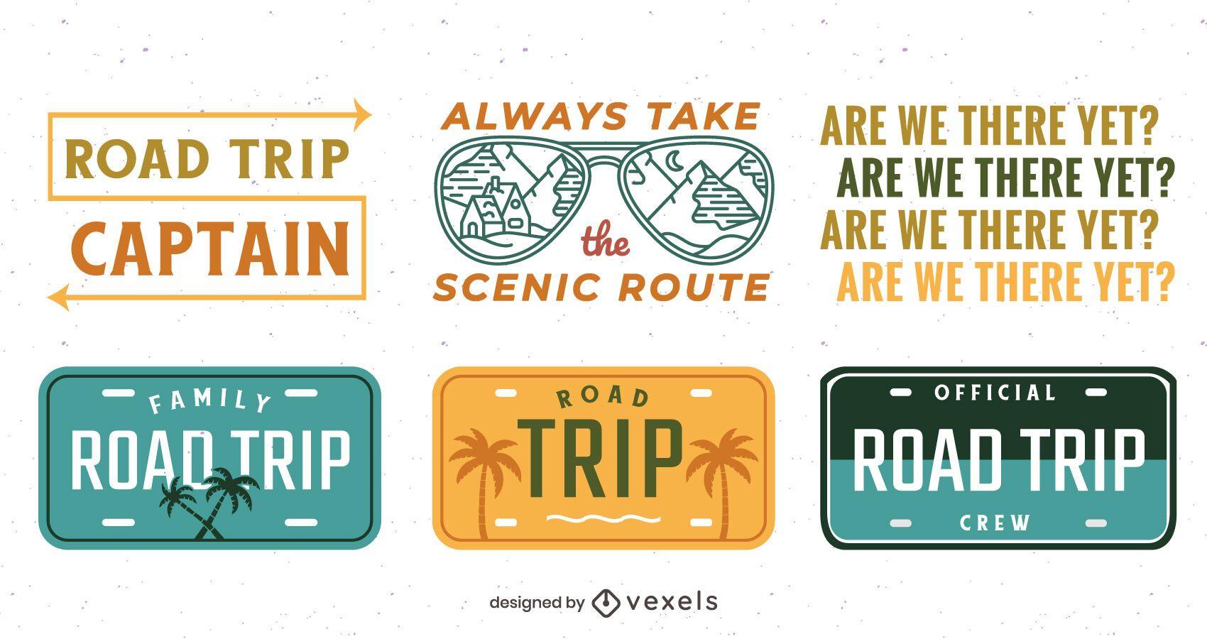 Conjunto de letras de viaje por carretera