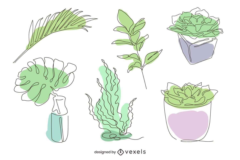 Paquete ilustrado de diseño de plantas