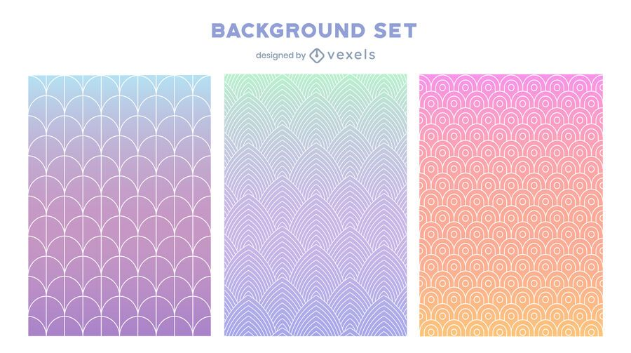 Gradient pastel background set