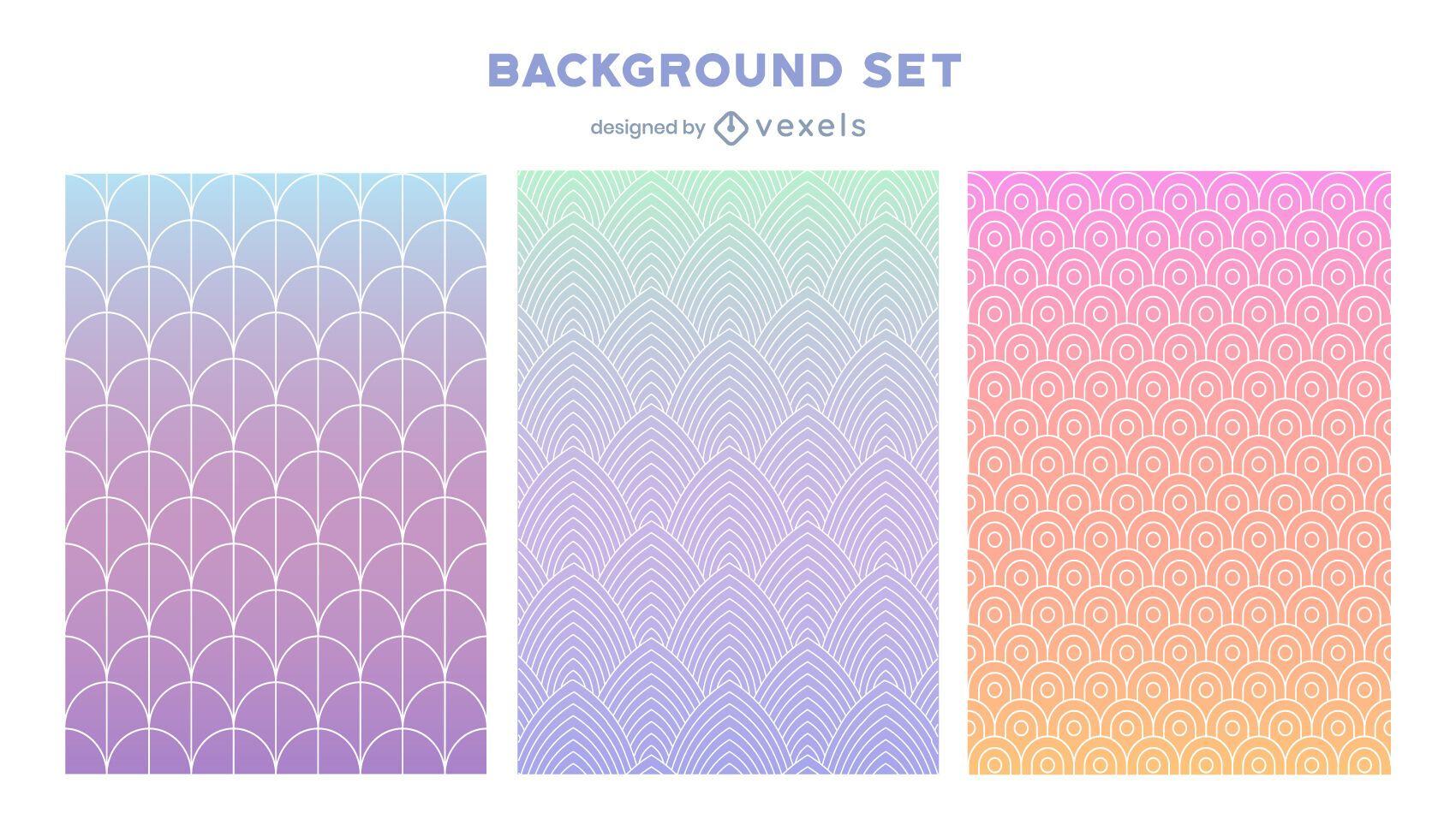Gradient pastel background set