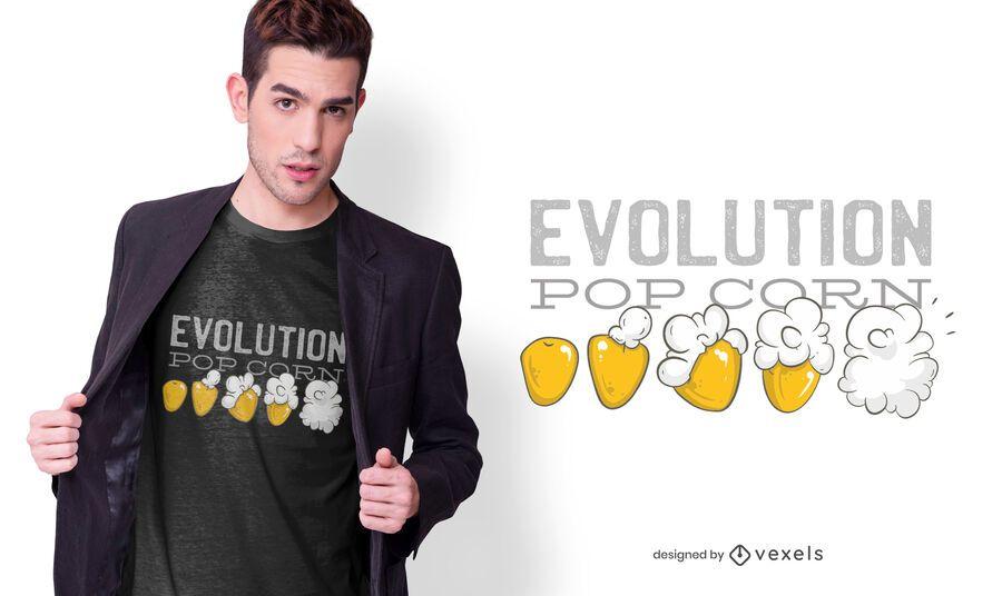 Diseño de camiseta Pop Corn Evolution
