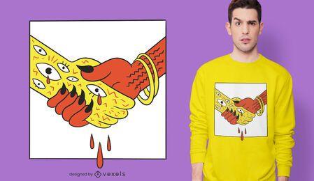 Design de t-shirt de aperto de mão do diabo