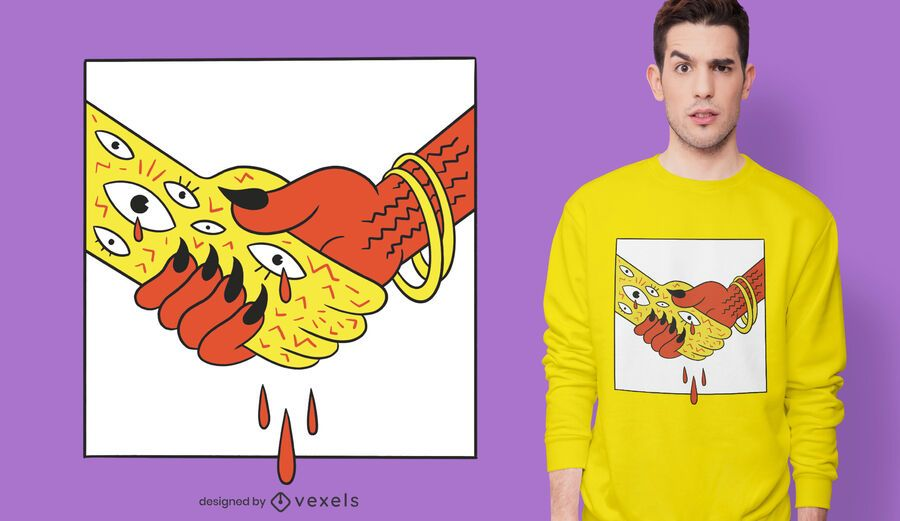 Devil Handshake T-shirt Design