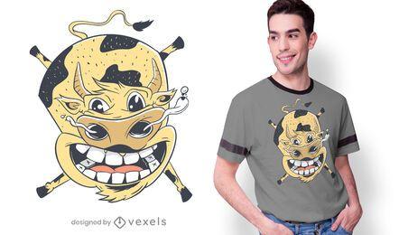 Design de t-shirt de vaca voadora