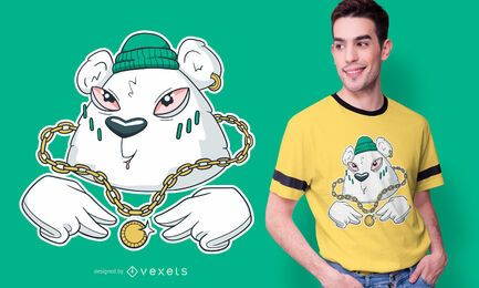 Diseño de camiseta de oso gangsta
