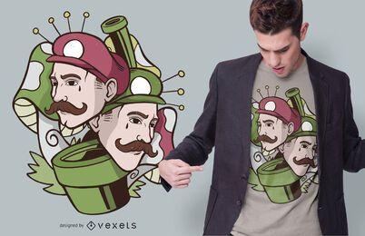 Projeto do t-shirt dos irmãos do cogumelo