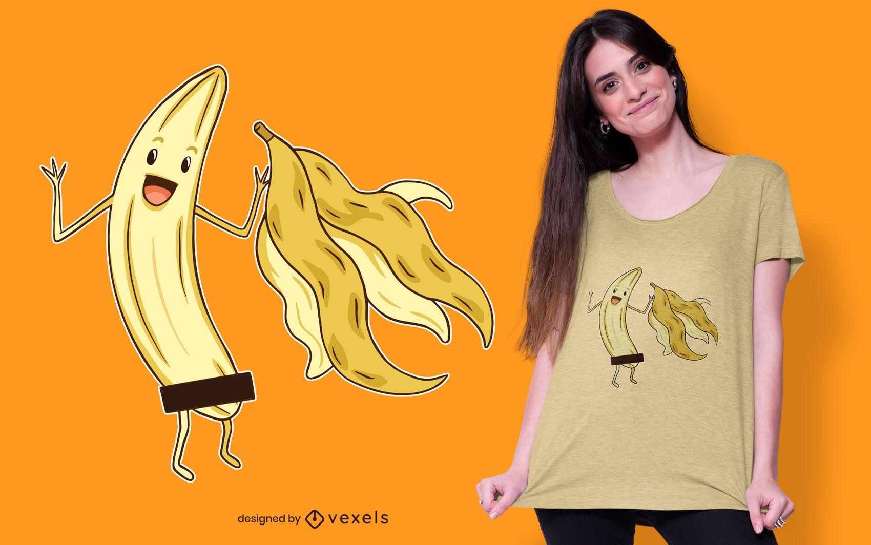Design de camiseta banana nua