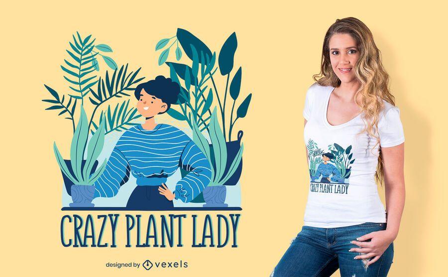 Design de t-shirt de senhora de planta louca