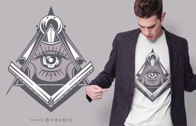 Diseño de camiseta de símbolo de masonería