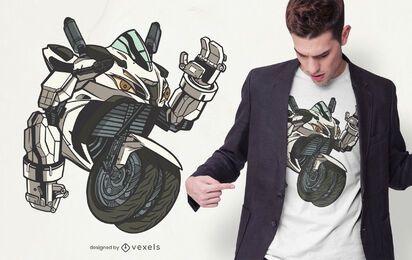 Design de t-shirt de robô de motocicleta