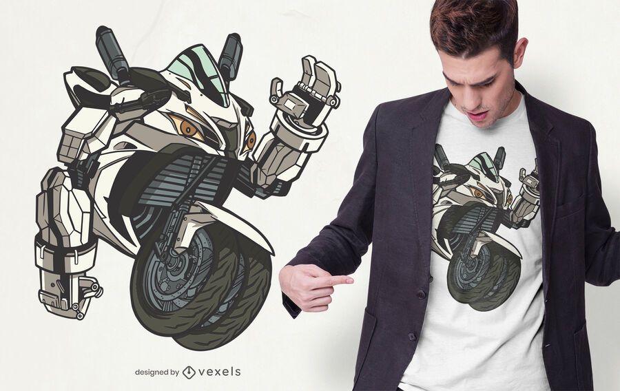 Diseño de camiseta de robot de motocicleta