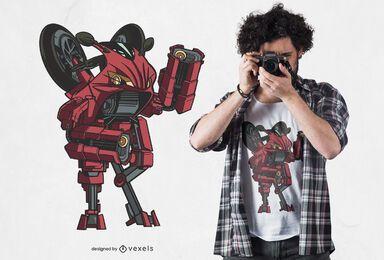 Design de camiseta para robô de bicicleta