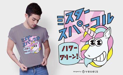 Diseño de camiseta de unicornio japonés