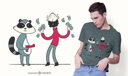 Diseño de camiseta de ladrón de mapache