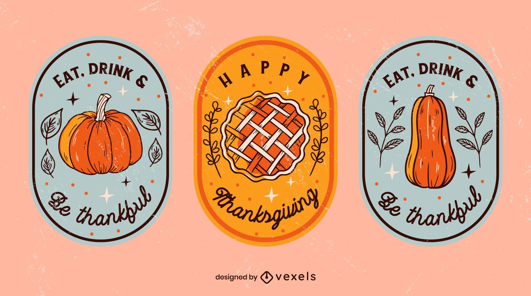 Thanksgiving Illustrated Badge Pack
