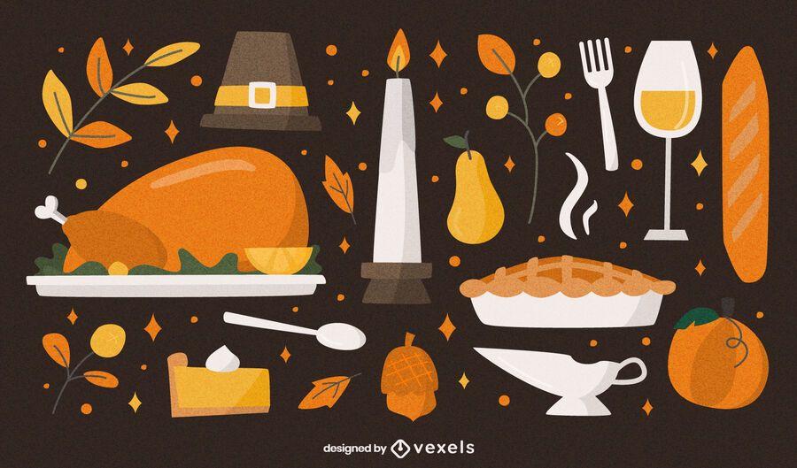 Set plano de comida de acción de gracias