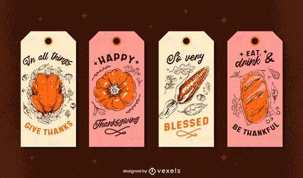 Conjunto de tags de Ação de Graças