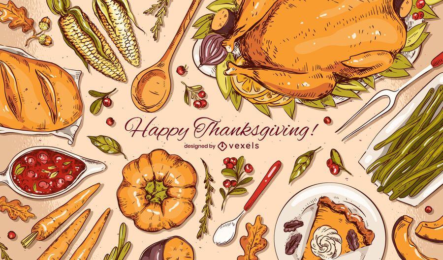 Happy Thanksgiving Hintergrunddesign