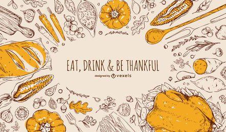 Diseño de fondo de alimentos de acción de gracias