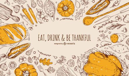 Diseño de fondo de comida de acción de gracias