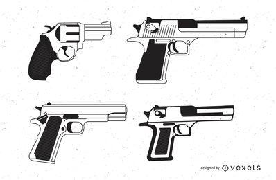 Conjunto de diseños de pistola.