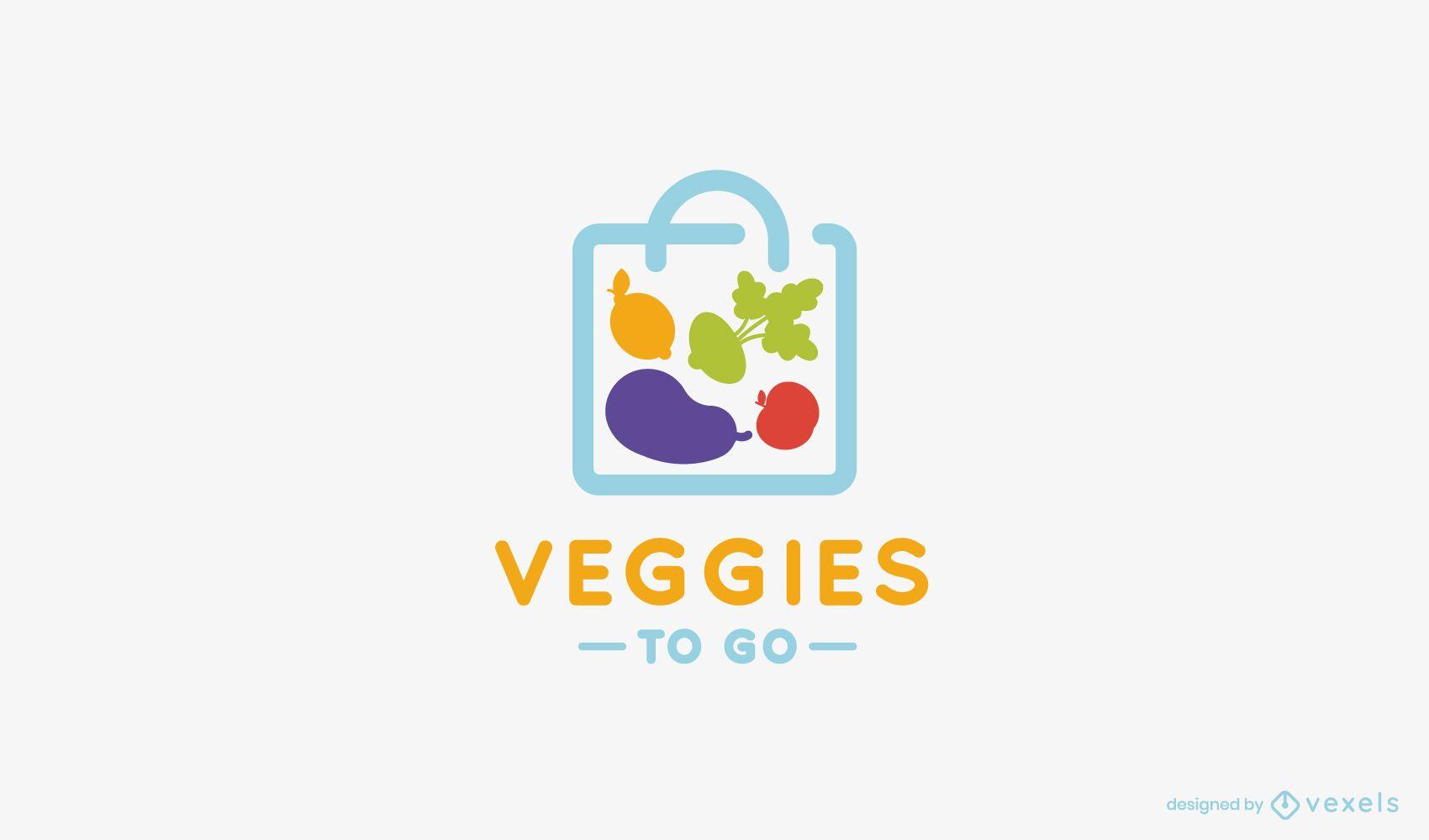 Veggies to Go Plantilla de logotipo