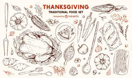 Acción de gracias comida tradicional conjunto dibujado a mano
