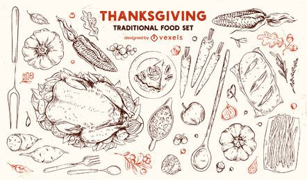 Thanksgiving traditional food hand drawn set