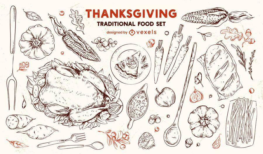 Conjunto dibujado a mano de comida tradicional de acción de gracias