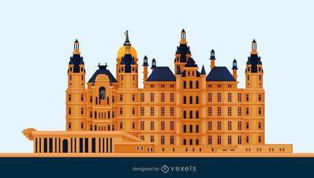 Diseño plano del castillo de Schwerin