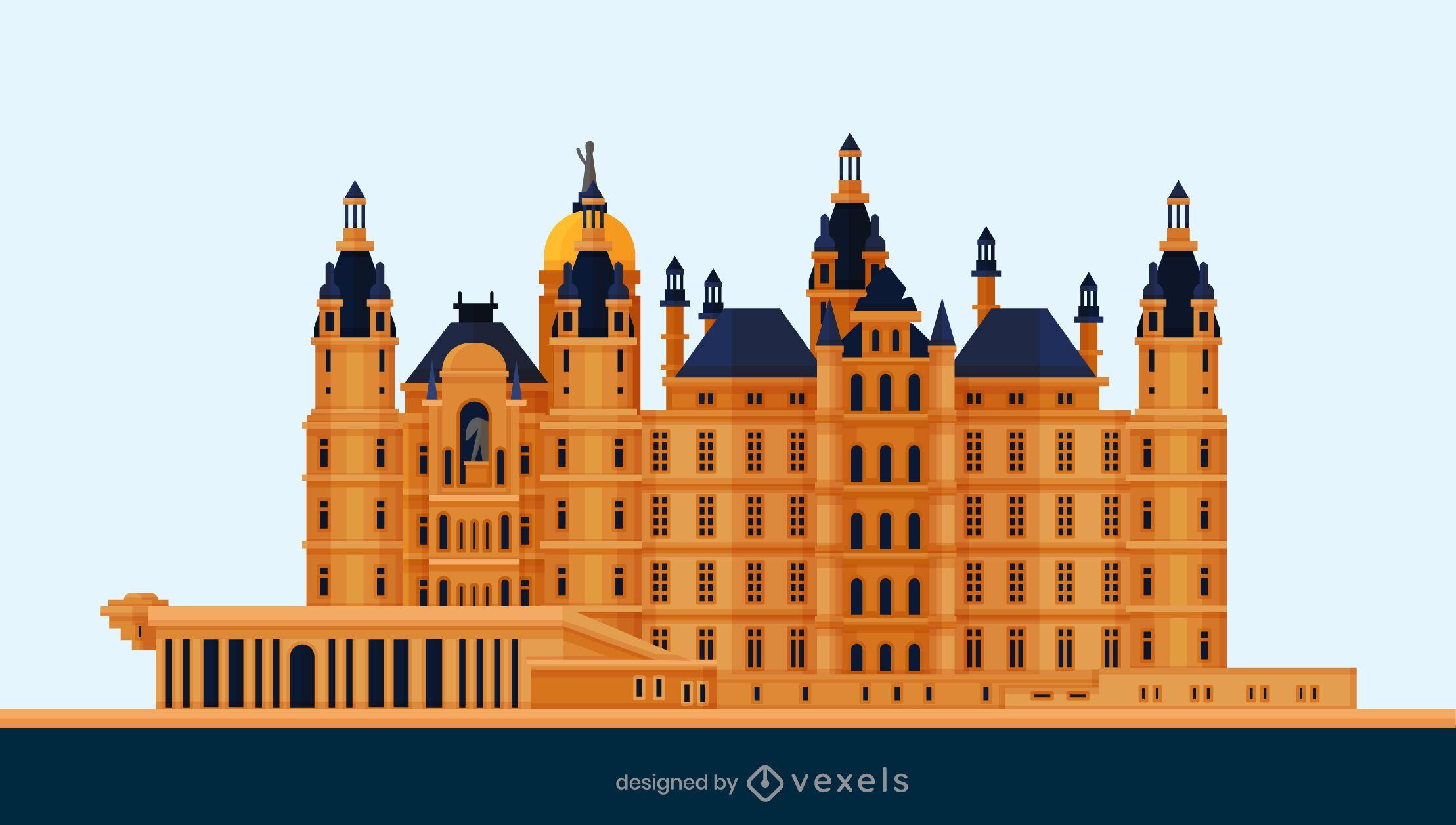 Schwerin Castle Flat Design