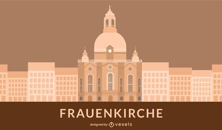 Flat Style Frauenkirche Church Building
