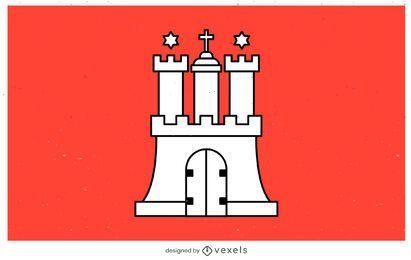 Diseño de la bandera del estado de Hamburgo