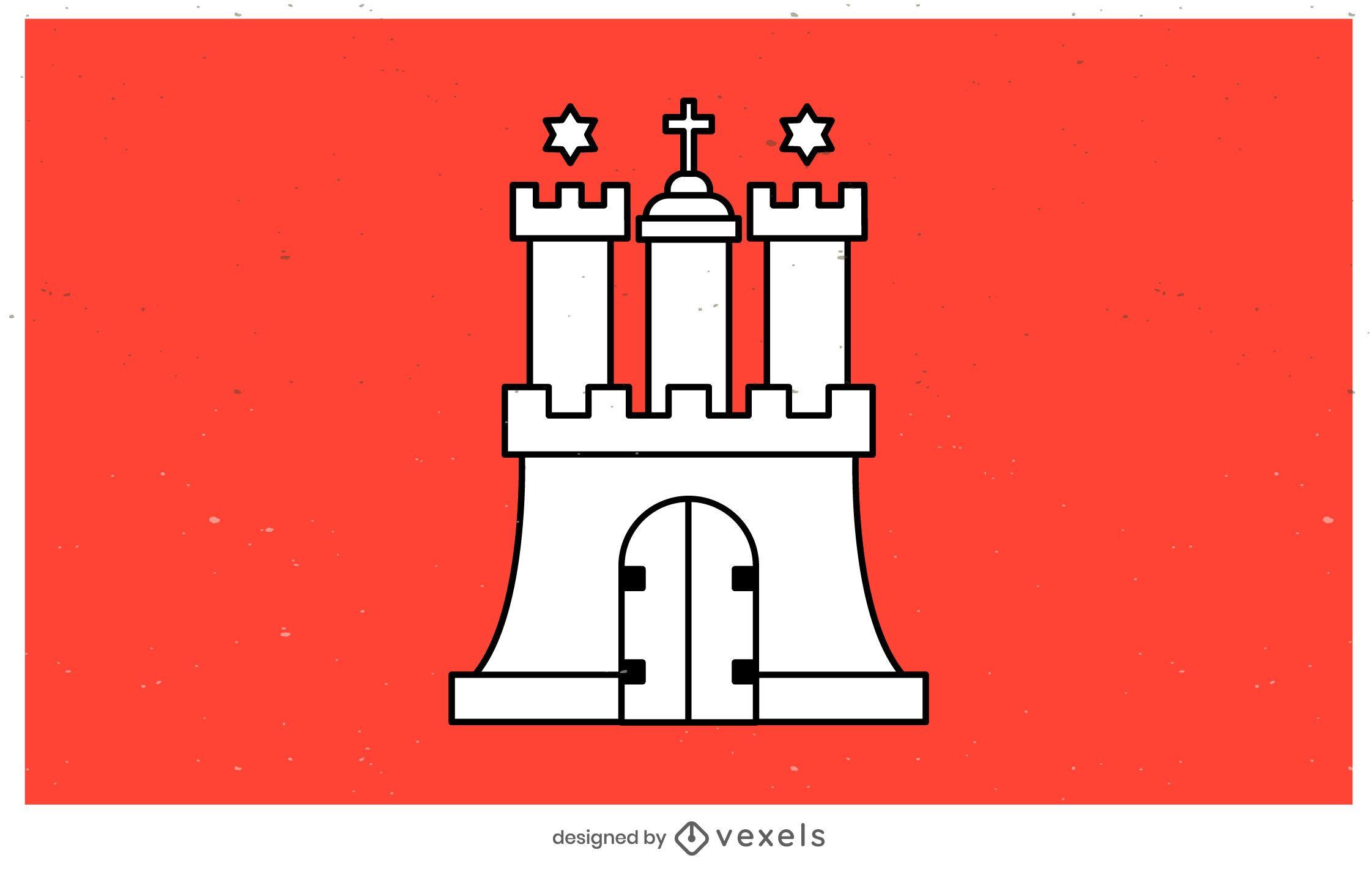 Desenho da bandeira do estado de Hamburgo