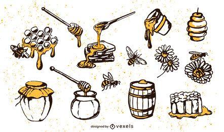 Conjunto de elementos de miel dibujado a mano