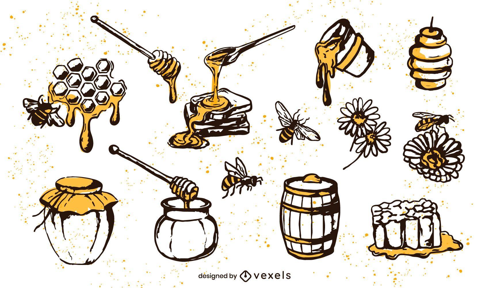 Conjunto de elementos de miel dibujados a mano