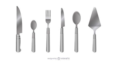Realistic kitchen cutlery set