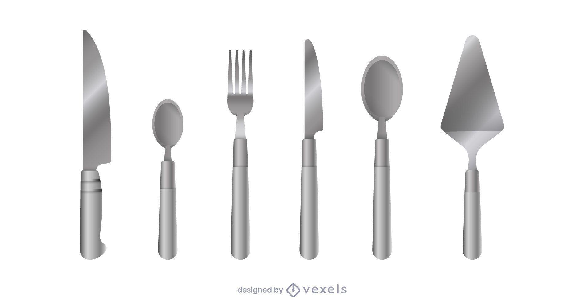 Realistic kitchen cutlery set