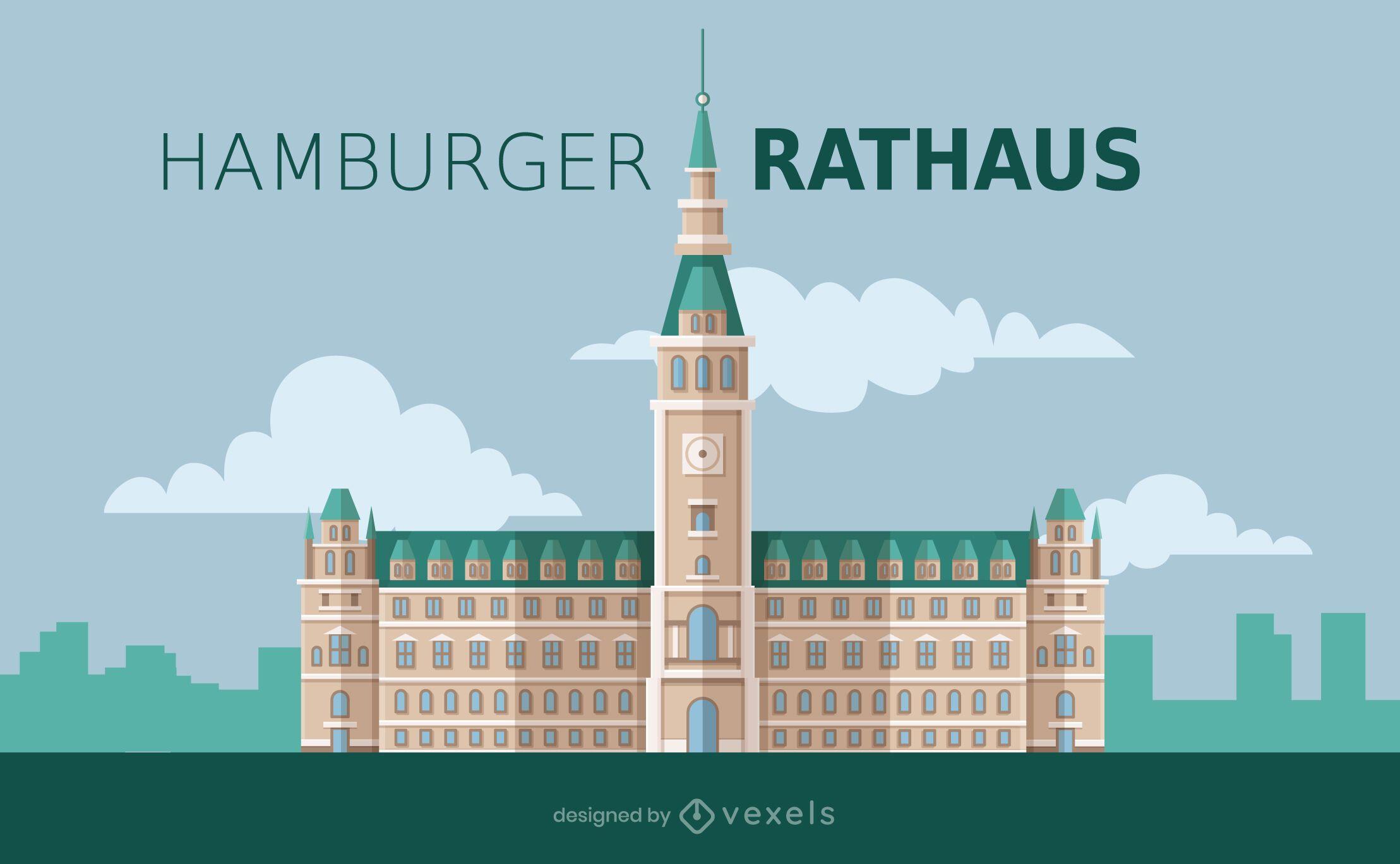 Hamburg Rathaus Flat Style Design