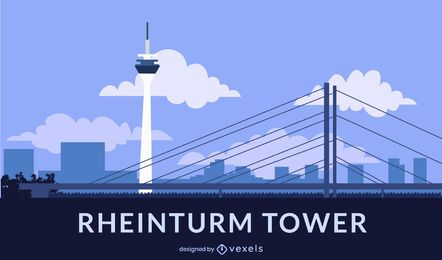 Rheinturm Tower Flat Style Design
