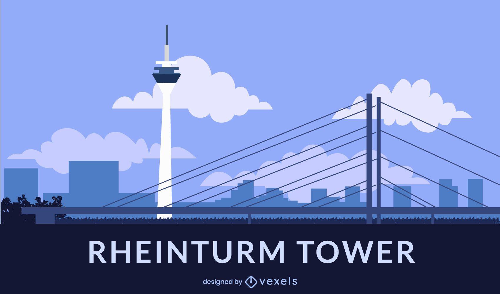 Diseño de estilo plano de la torre Rheinturm