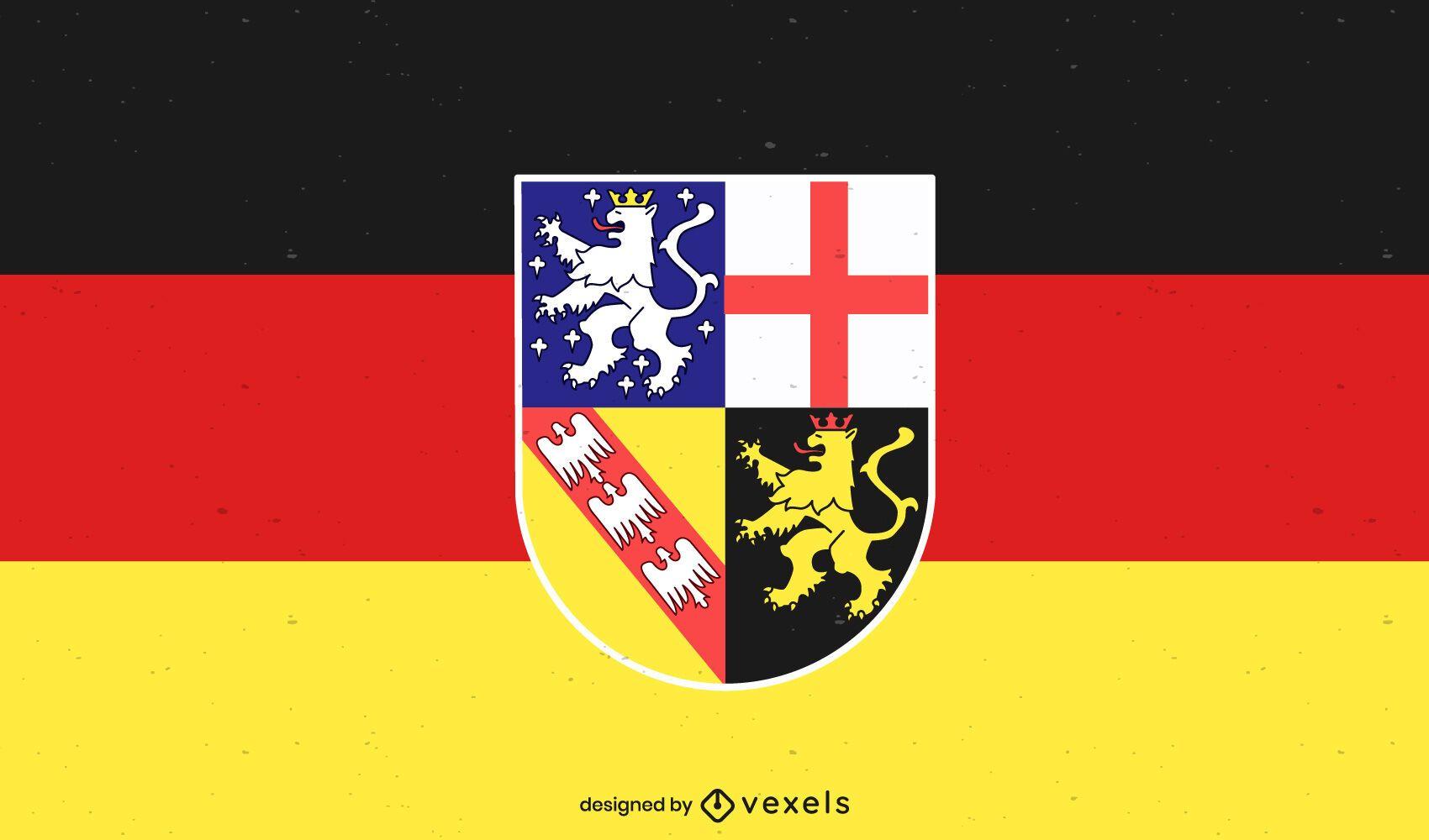 Desenho da bandeira do estado de Saarland
