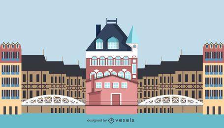Diseño de edificio de Speicherstadt de estilo plano