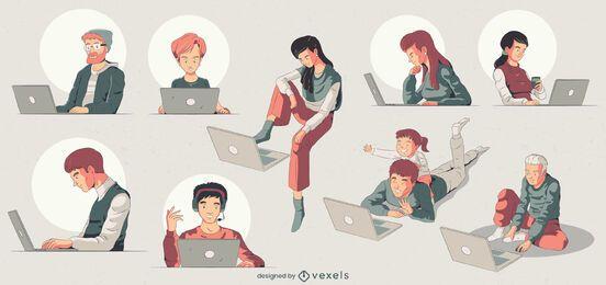 Conjunto de ilustración de personajes de computadora