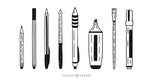 Writing supplies doodle set