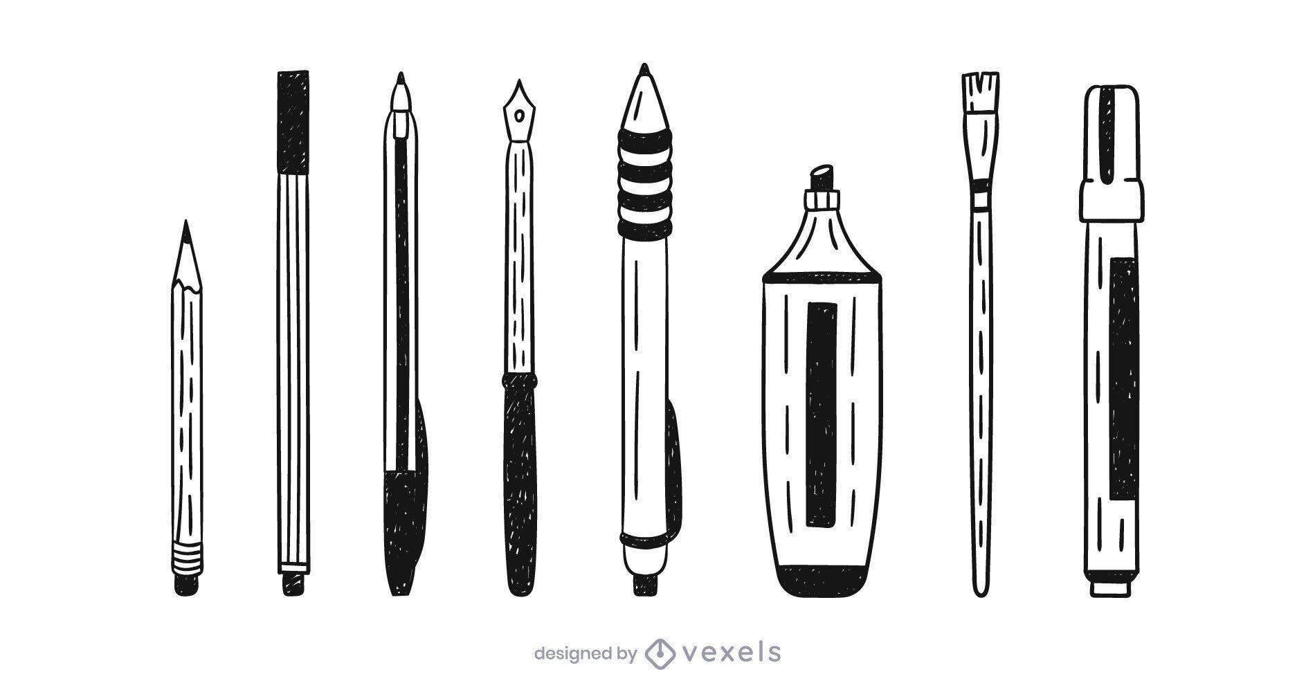 Writing supplies doodle set