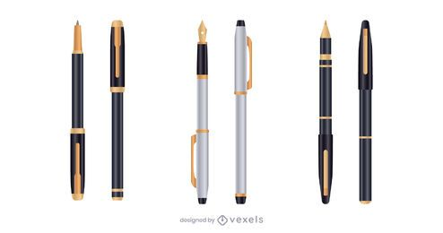 Conjunto de caneta realista de ouro prata