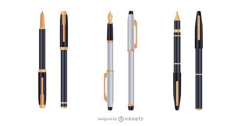 Juego de bolígrafos realistas plata oro