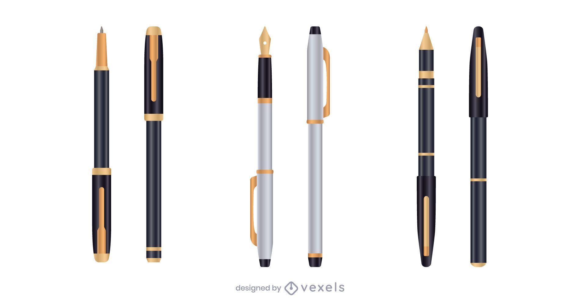 Silver gold realistic pen set